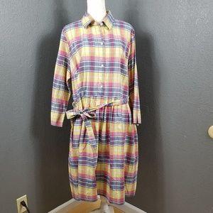 Lands End 100% cotton Shirt Dress Plaid 20W